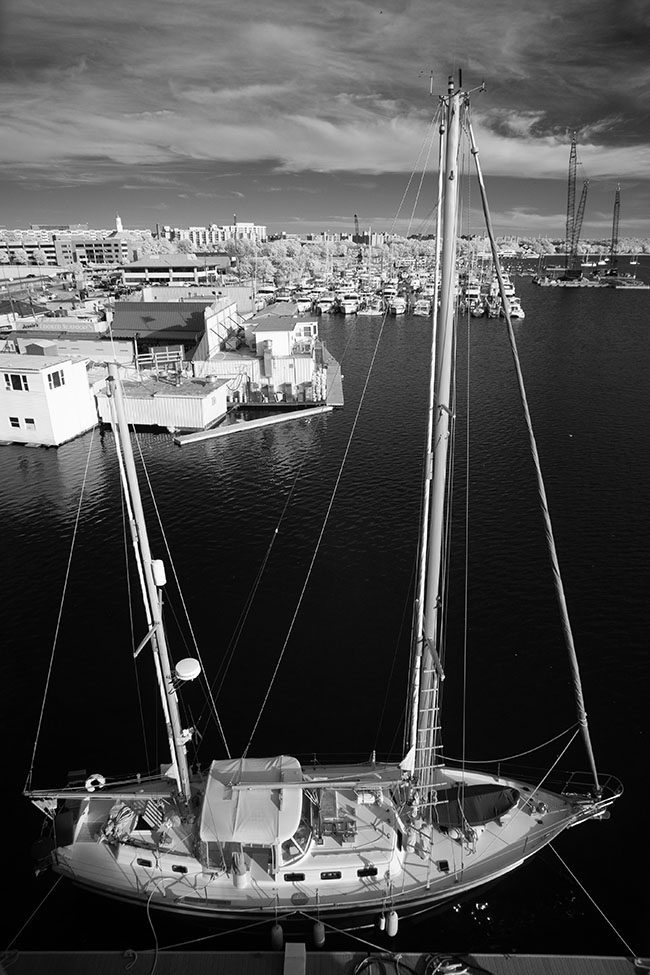 Infrared Photograph of Large Pleasure Schooner at the Washington (DC) Marina.