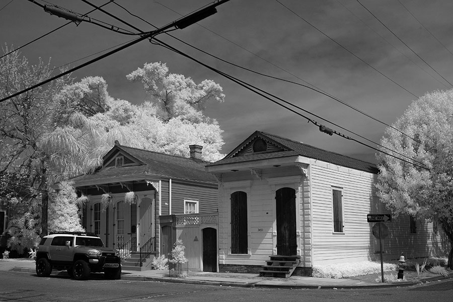 Corner with Shotgun Houses in Infrared.
