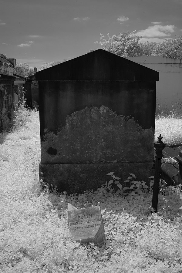 Tomb and Child's Grave Marker in Infrared.