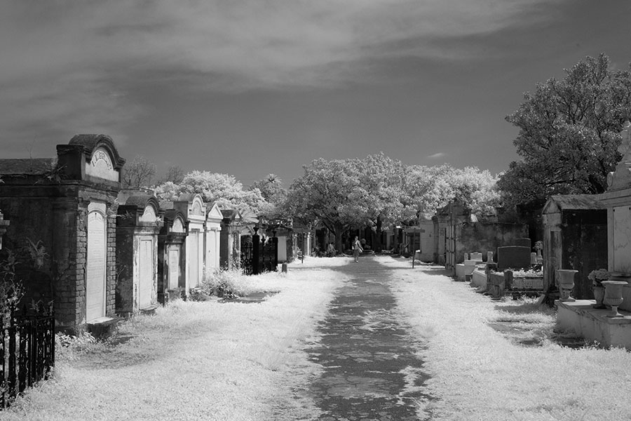 Above Ground Tombs and Path in Infrared.