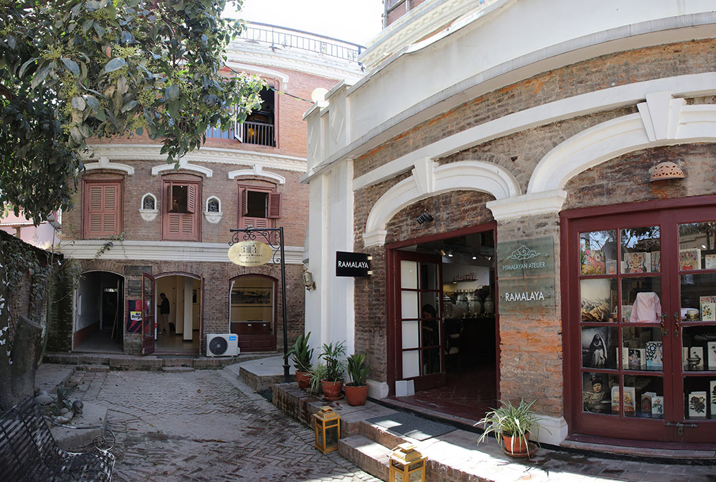 Front Door of Art Gallery and Home Goods Shop in Converted Nepali Palace Complex.