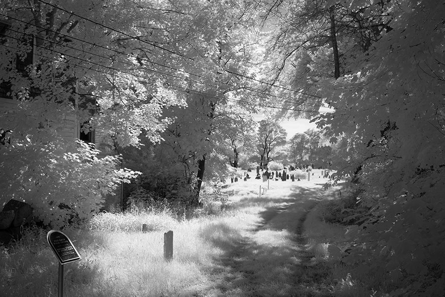 Infrared Photo of Shaded Entrance to Old Cemetery.
