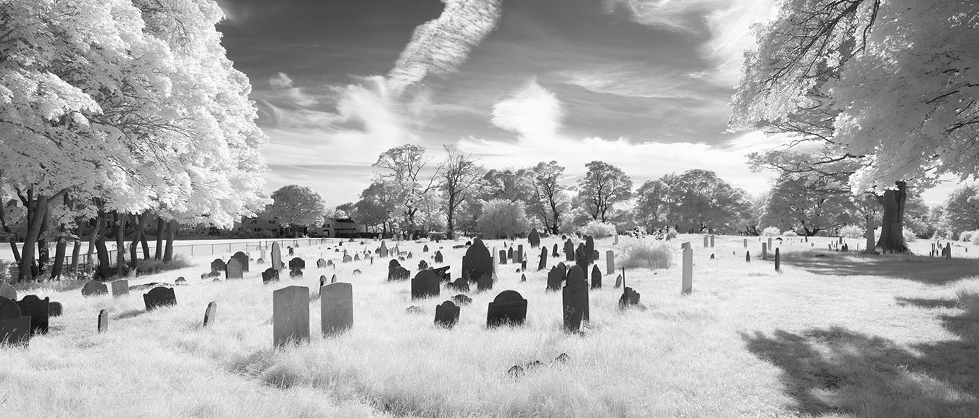 Infrared Panoramic Photo of New England Burial Ground, Backlit.