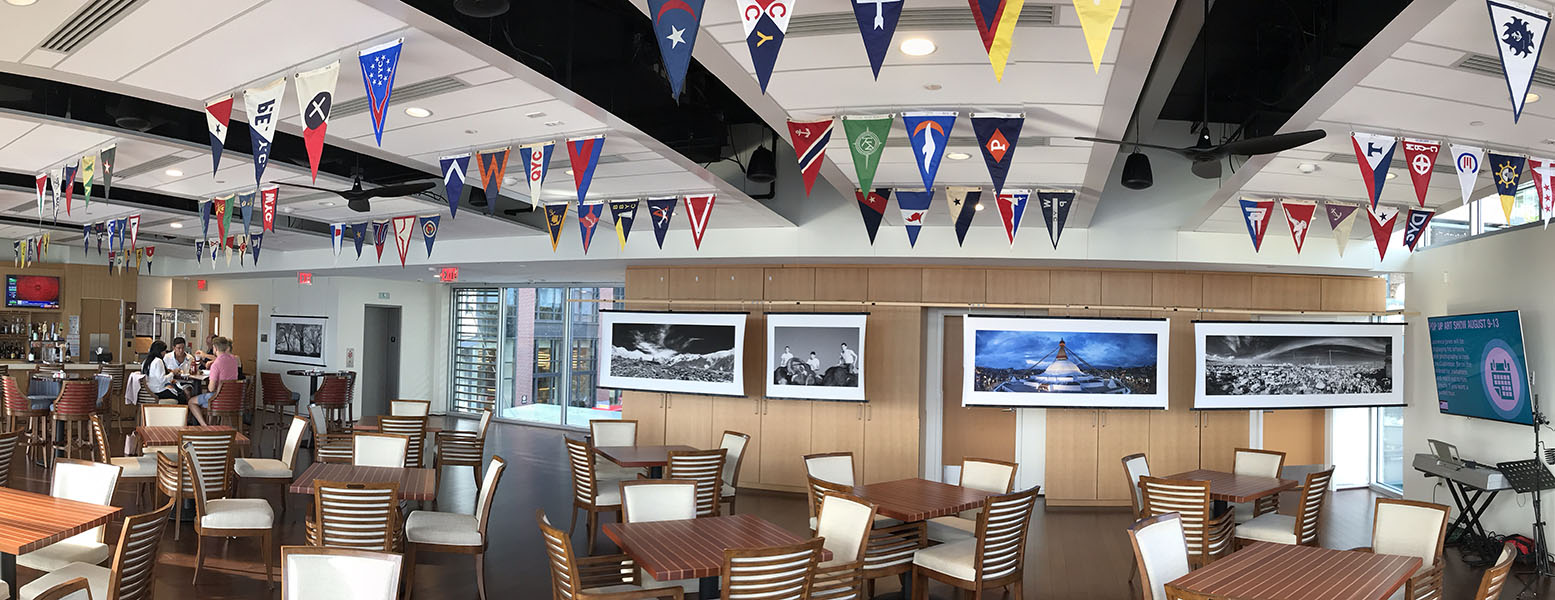 Larger Prints by LKJ displayed in the Clubroom of the Capital Yacht Club, Washington DC, August 2019.