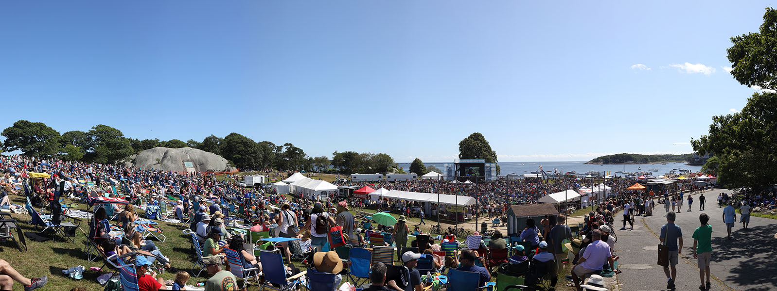 Panoramic View of an Outdoor Music Festival in Stage Fort Park, Gloucester, Massachusetts.