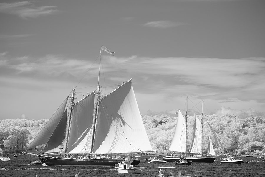 Infrared Photo of Two Schooners Heading on Opposite Courses in Gloucester's Harbour