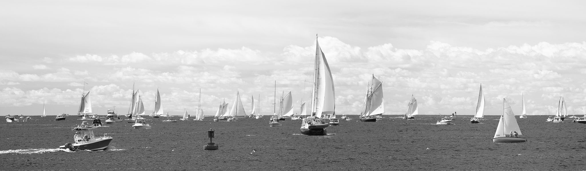 Infrared Panoramic Photo of Sailboots in Gloucester Harbor During the Schooner Festival, 2019.