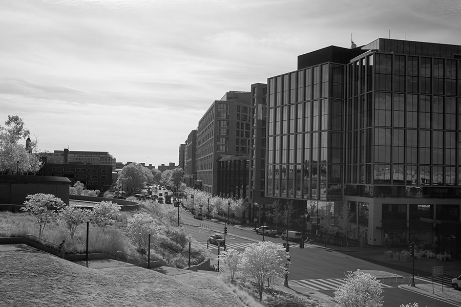 Infrared view down Maine Avenue, showing the Wharf Development from the 14th Street Bridge in Washington DC.