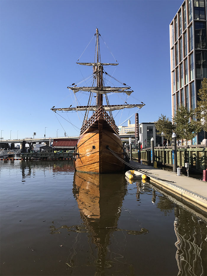 Artsy Head-On Photo of Replica Santa Maria Sailing Ship.