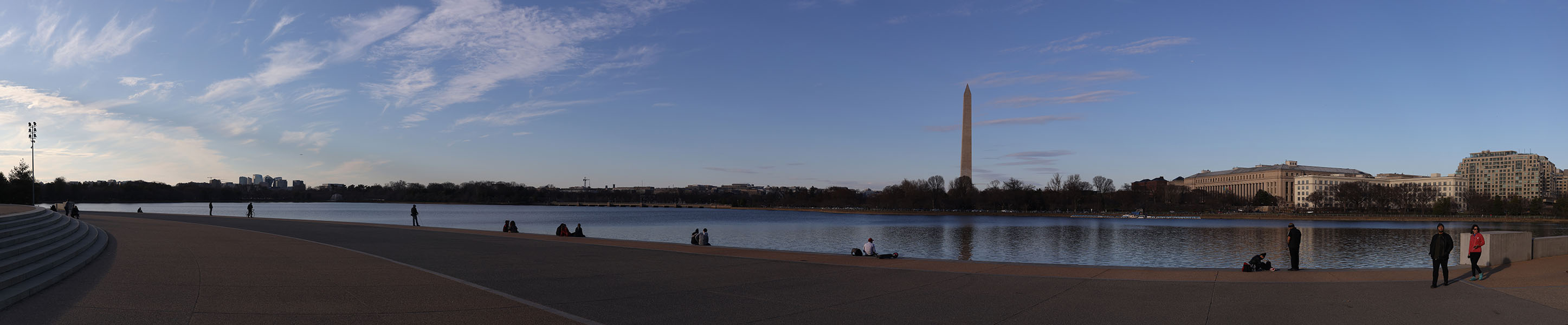 Panorama of Tidal Basin From the Jefferson Memorial with Washington Monument in Background.