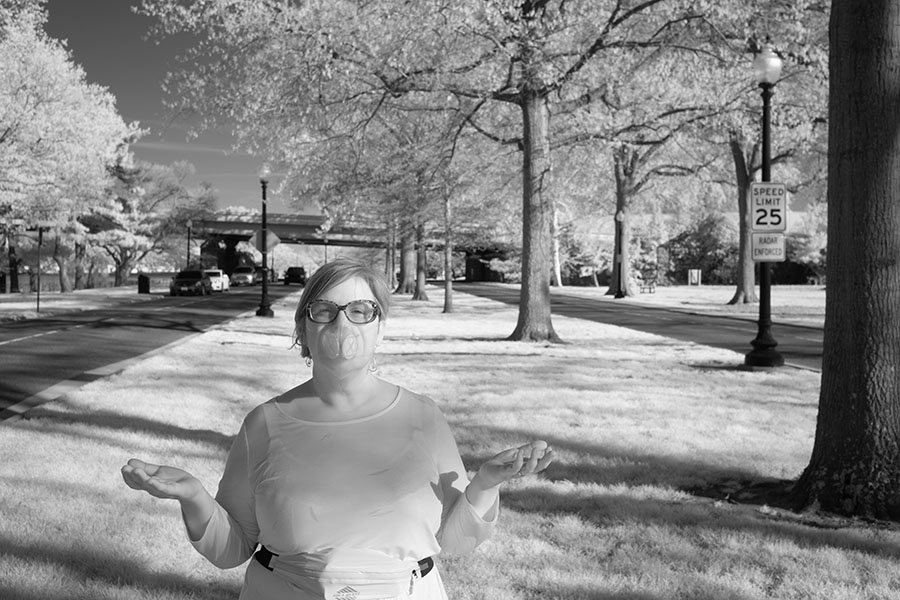 Outdoor Infrared Portrait of Woman in Protective Facemask.