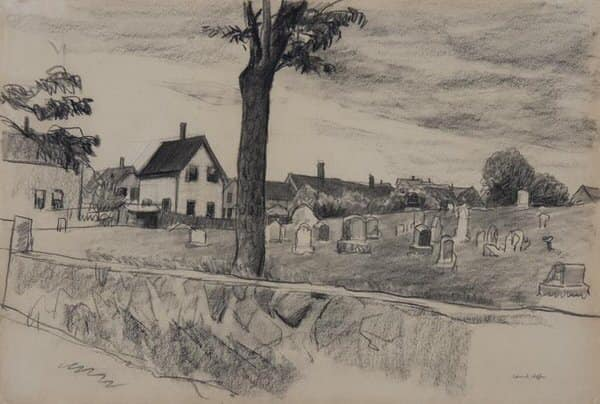 Edward Hopper Sketch in Conte Crayon of a New England Cemetary Behing a Stone Wall.