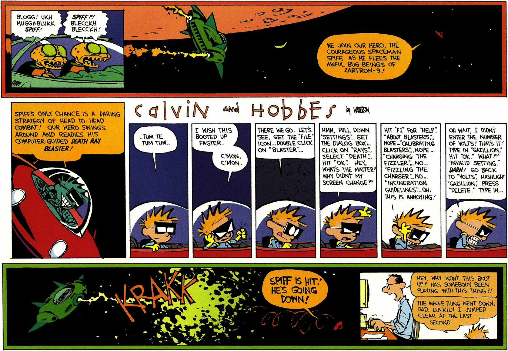 Calvin and Hobbes Sunday Strip, poking fun at menu driven computers.